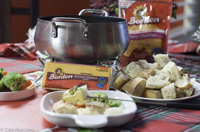 Borden® Cheddar cheese adds a delightful flavor in this Bacon Cheddar cheese fondue.