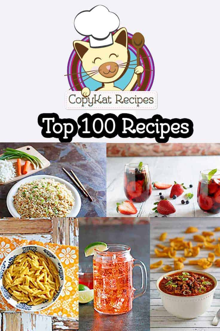 The top 100 Copycat recipes from CopyKat.com. See if your favorite restaurant recipes are here. #recipes #copycat #copycatrecipes