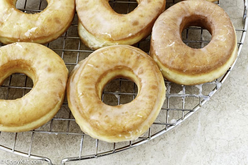 You can make your own copycat Krispy Kreme donuts at home with this copycat recipe.